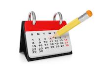 3d illustration, concept calendar. Mark a date in the calendar